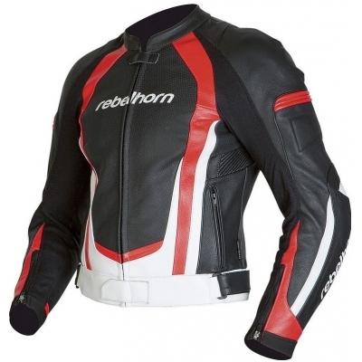 Kožená bunda Rebelhorn Piston II čierno-bielo-červená, na motorku