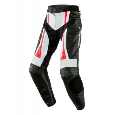 Kožené nohavice Rebelhorn PISTON II - čieno/bielo/červené fluo