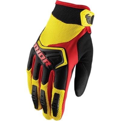 Detské rukavice Thor Spectrum 2018 čierno-žlto-červené, na motorku