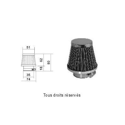 Tuningový vzduchový filter Ø35 l80, 98FR08
