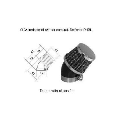 Tuningovy vzduchový filter Ø35 l97 , 98FR11